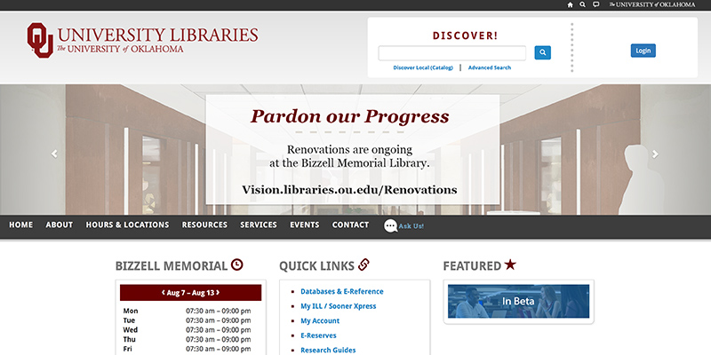 OU library resources page