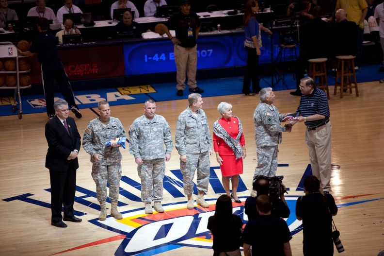 Dr. Pappas on the court of the OKC Thunder Military Appreciation event