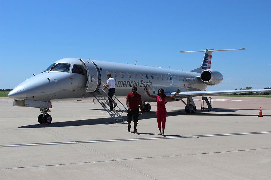 Attendees boarding plane at 2017 OU Aviation kick off