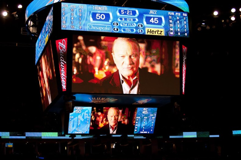 Barry Switzer on a jumbotron at the OKC Thunder Military Appreciation event