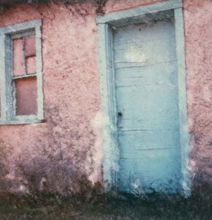 Vintage photography, an old blue door