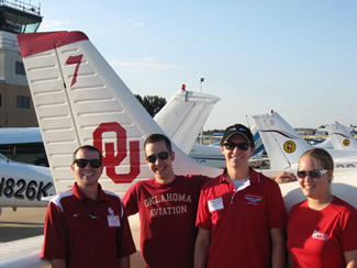 Student members of the University of Oklahoma National Intercollegiate Flying Association (NIFA) flight team