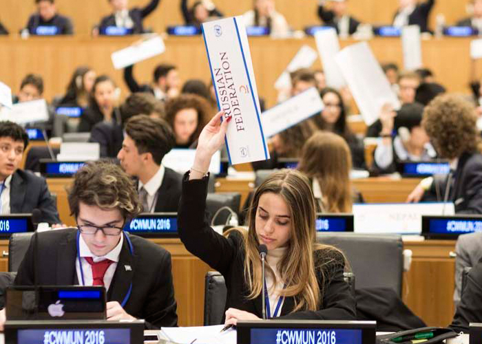 Students participating in Model UN
