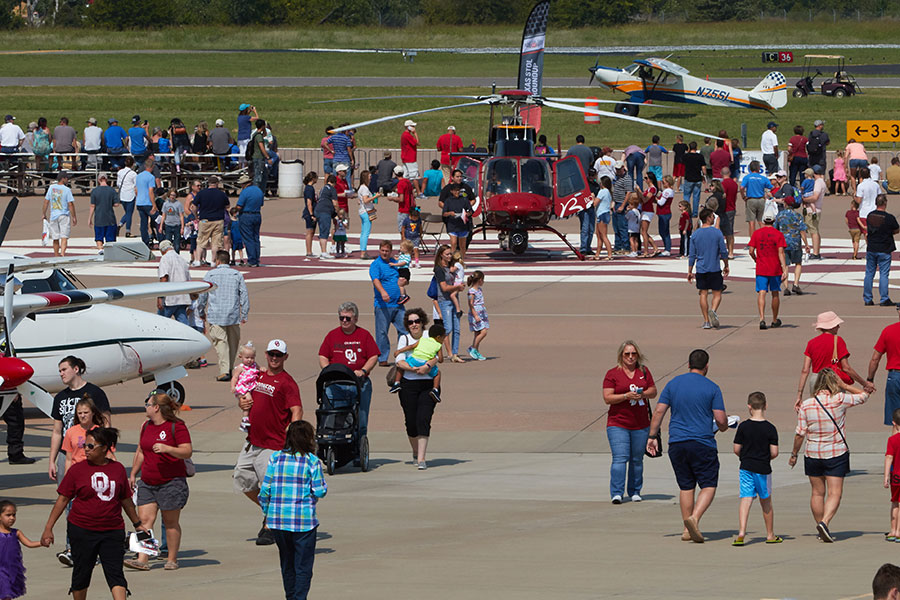 Attendees at the Westheimer Aviation open house