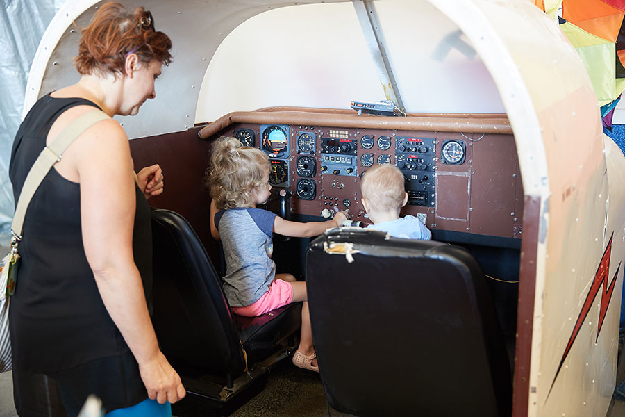 Parents and children at the Westheimer Aviation open house