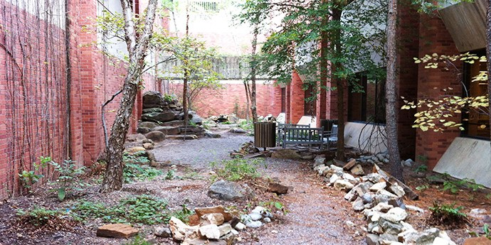 Find the Oklahoma canyon garden on the OU campus