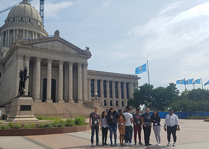 Summer camp students at Oklahoma State capitol building